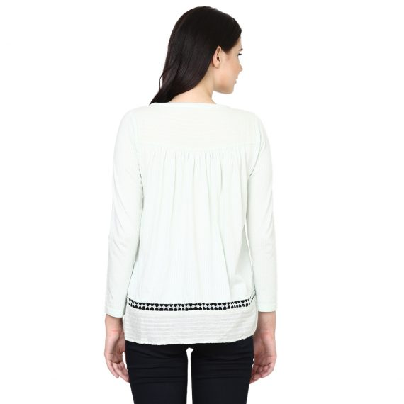 aesmarize #Aesmarizelogo #Aesmarize #aesmarize.com #aesmarizeimages #aesmarizpics aesmarize.com Dobby Bell-sleeve Printed Top#Aesmarizelogo #Aesmarize #aesmarize.com #aesmarizeimages #aesmarizpics aesmarize.com Front Open with lace Dobby Top - S, Ivory