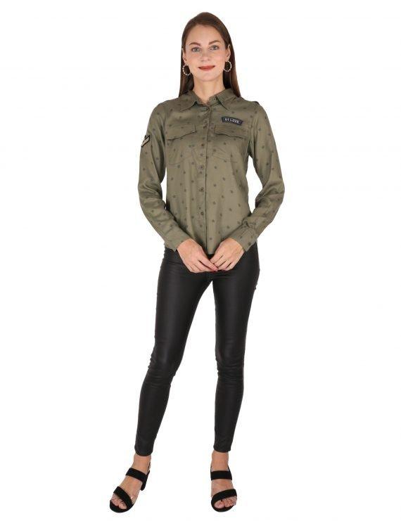 Olive Star Print Shirt
