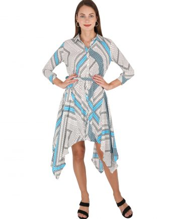 Multicolor Geometric Print Asymmetric Dress